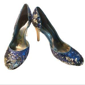 Nine West Blue Sequin High Heel 8W